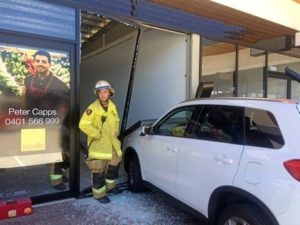 elderly woman crashed into a vacant shop
