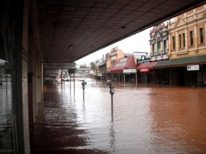 Flood water damage in Toowoomba
