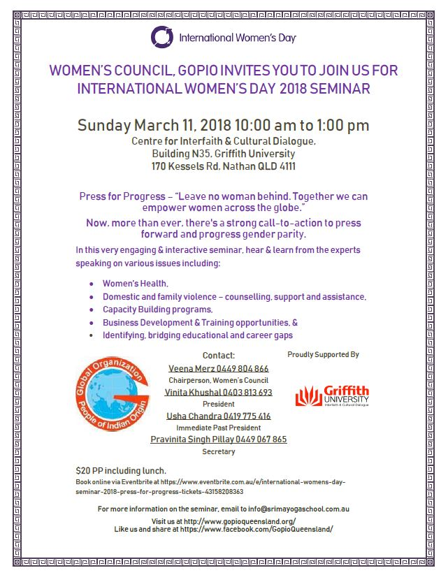 International Women's Day Seminar 2018 Queensland