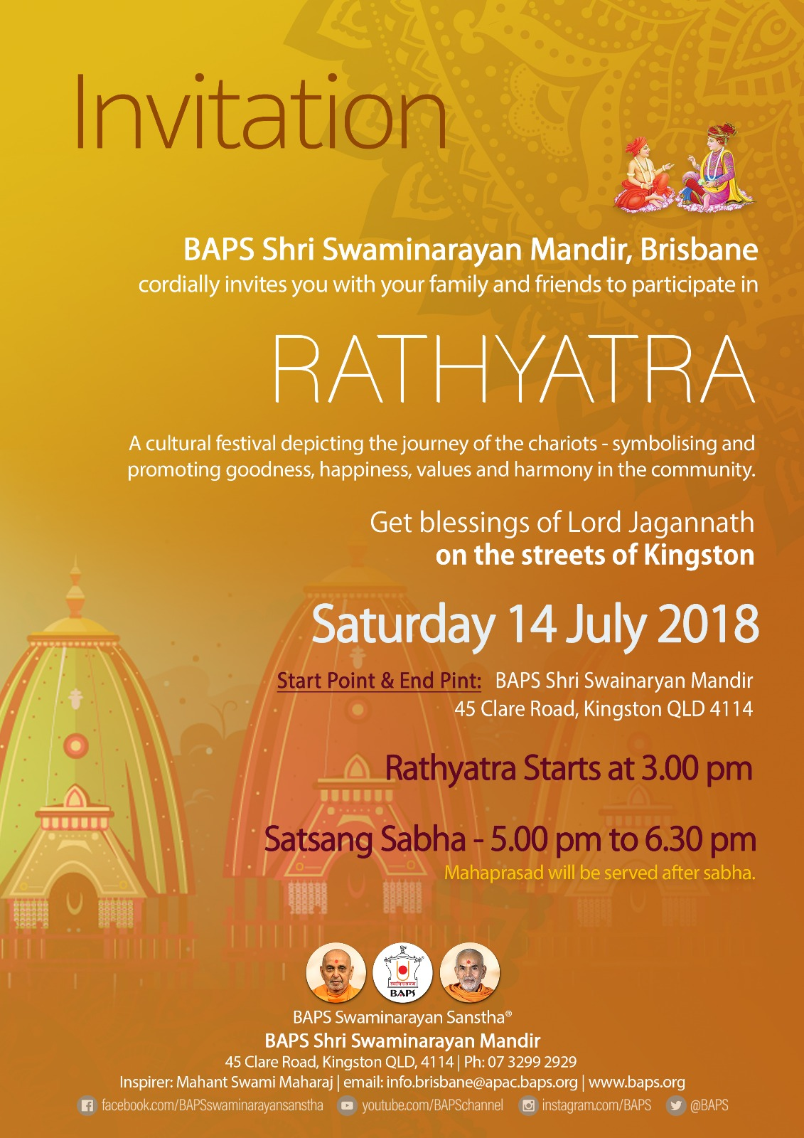 Rathyatra By Baps Indian News Queensland