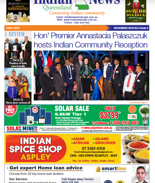 Indian News Queensland – December 2018 Vol 2 Issue 3