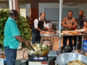 Bhaturas being fried for the attendees at the event
