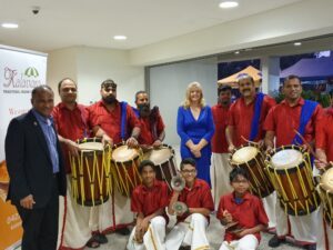 Councillor Angela Owen (centre) posing with one of the dance groups