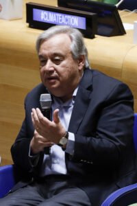 UNITED NATIONS, Sept. 21, 2019 (Xinhua) -- United Nations Secretary-General Antonio Guterres speaks during the UN Youth Climate Summit at the UN headquarters in New York, Sept. 21, 2019. UN Secretary-General Antonio Guterres on Saturday said he saw a change in the momentum of global climate action thanks to the on