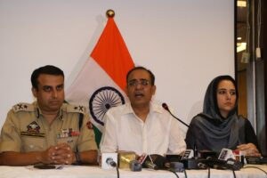 Srinagar: Jammu and Kashmir Principal Secretary Rohit Kansal accompanied by Inspector General of Police (IGP) Kashmir Swayam Prakash Pani and Director Information and Public Relations Syed Sehrish Asgar, addresses a press conference in Srinagar on Aug 17, 2019. Following the clampdown for 12 days in Jammu and Kashmir over the abrogation of Article 370 and bifurcation of the state into two Union Territories, the state government on Saturday said that 17 of the 96 exchanges were made functional while restrictions have been lifted from 35 police stations in North, South and Central Kashmir region. (Photo: IANS)