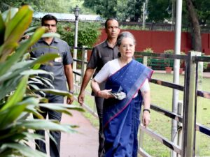 New Delhi: Congress leader Sonia Gandhi arrives to attend Congress Working Committee meeting in New Delhi on Aug 10, 2019. (Photo: IANS)
