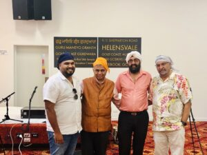 High Commissioner HE Gitesh Sarma (2nd left) on his visit to the local gurudwara to offer obeisance