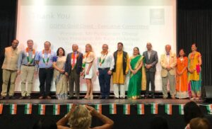 High Commissioner HE Gitesh Sarma on stage with other dignitaries
