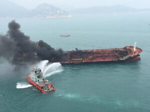 CHINA-HONG KONG-LAMMA ISLAND-OIL TANKER BLAZE (CN)