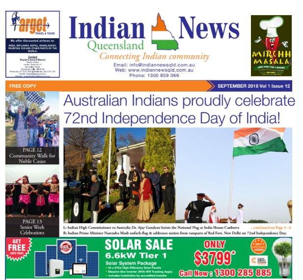 Indian News Queensland – October 2018 Vol 2 Issue 1