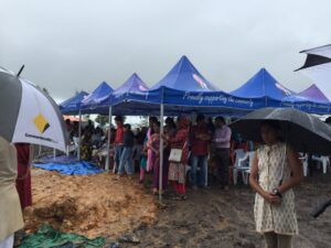Many devotees from Gold Coast, Brisbane and Northern NSW participated in the ceremony despite the heavy rain